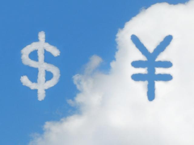 雲とドルと円(アメリカ口座開設イメージ)